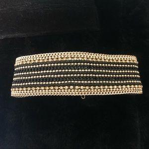 Jewelry - Rhinestone, Beaded Chain, Thick Leather Choker